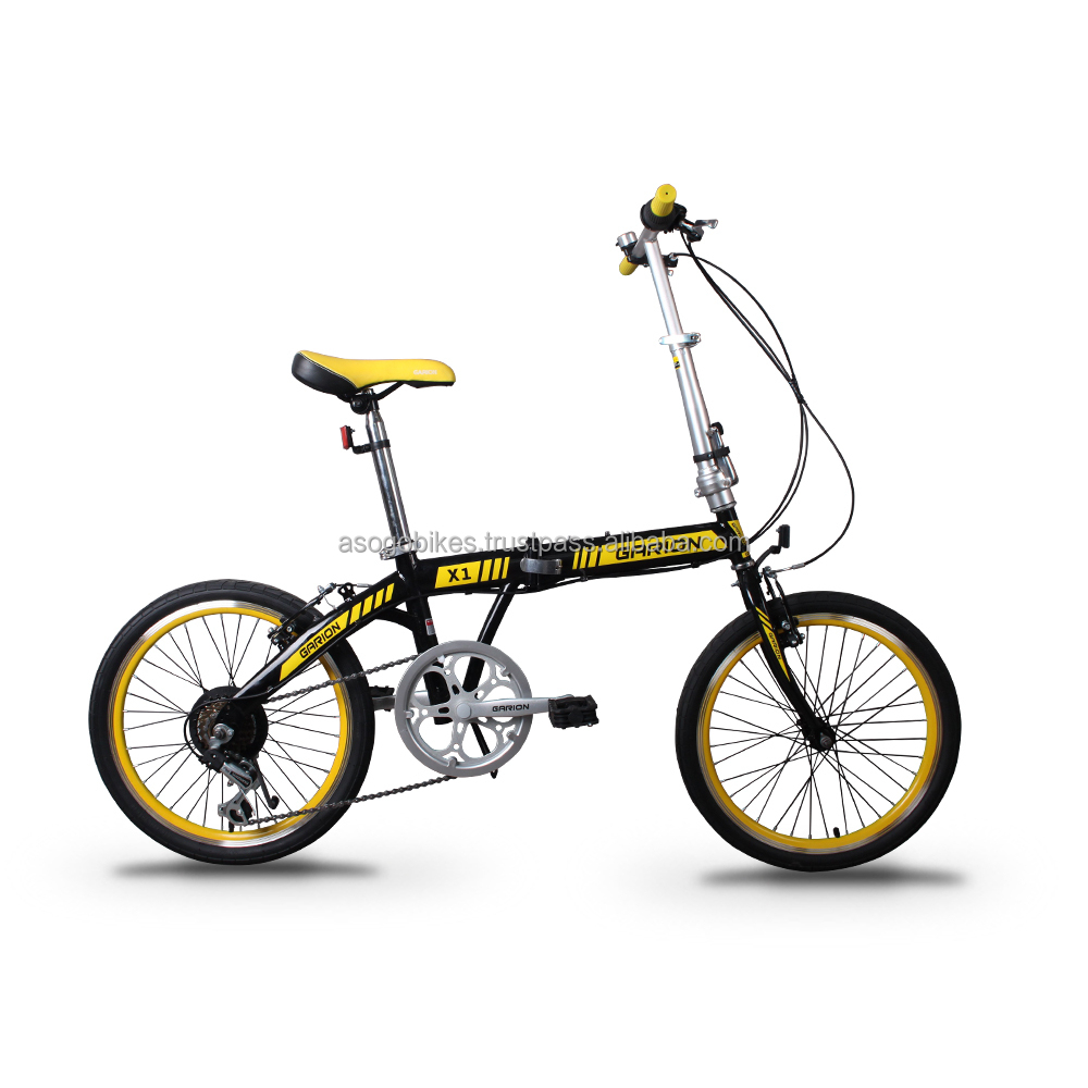 "GARION 20"" Folding Bike Foldable Bicycle Black with Yellow"