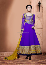 Royal Blue color on zari embroidery heavy design and mustard color flower design Anarkali Designer Semi Stitch Salwar Kameez