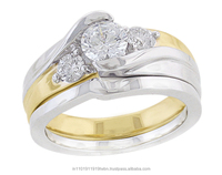 10KT White Gold 1.00 Ctw Round Cut Natural Diamond Bridal Ring Set By KP Sanghvi