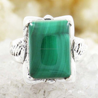 Sterling Silver Ring Women Jewelry Malachite Stone Fashion 925 Jewellery Size 7