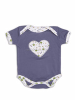 Short sleeve lap shoulder bodysuit With Heart Applique