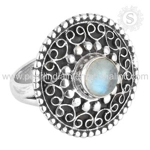 Delightful Rainbow Moon Stone Ring Jewellery Factory Direct Sale 925 Sterling Silver Jewelry Suppliers