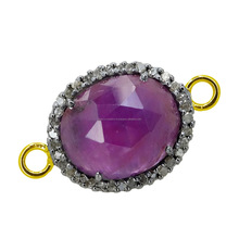 Single natural 14k gold connector ruby gemstone finding pave diamond jewelry connector wholesale