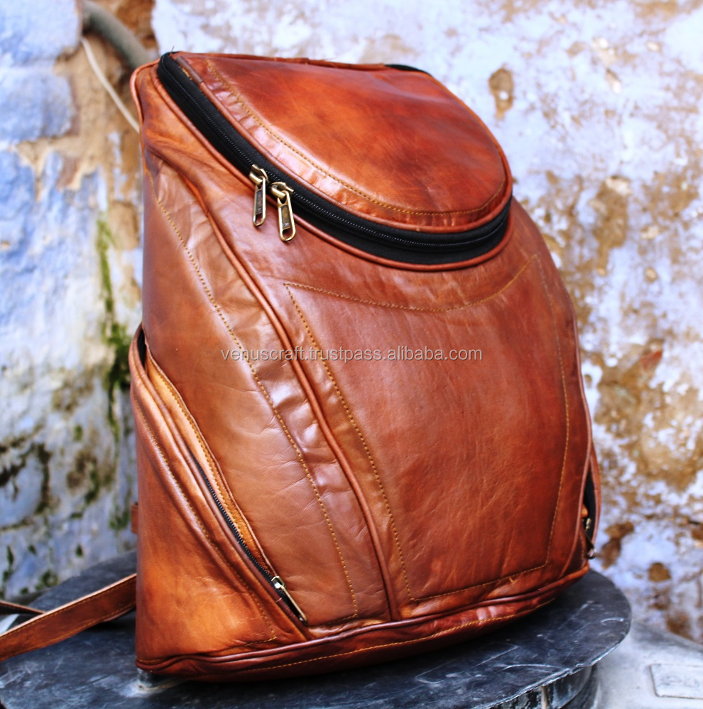 Real leather vintage style back pack bags with inner padding for laptop/ruck sack bags