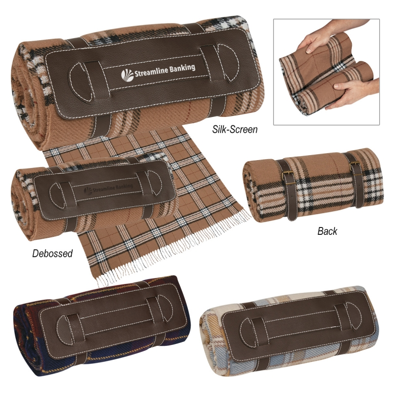 "Tartan Roll-Up Blanket - 51"" x 69"", 100% acrylic, includes leatherette strap and comes with your logo"