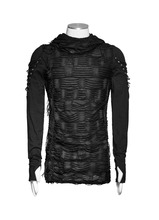 Men's black hooded longsleeve top Punk Rave T-438