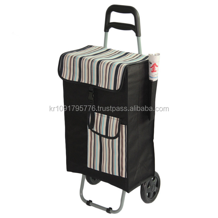 Large capacity rolling shopping cart, folding can customize with logo fabric shopping cart with two wheel and seatl