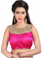 Fancy hand work blouse - New design hand work saree - New fashion banglori silk blouse 2016 - Pink color blouse