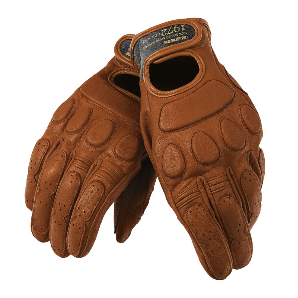 Brown leather motorbike riding gloves