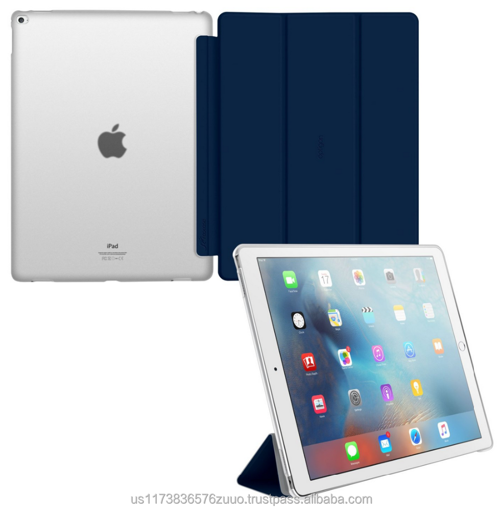 Ultra Slim Lightweight Smart Cover PC Shell Clear Case Magnetic Auto Sleep Wake for iPad Pro 12.9 roocase Optigon (navy)