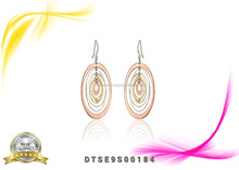 Women Simple Trendy Styles Chandelier Three Tone Earrings
