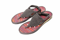 Black Hmong Hill Tribe Crochet Sandals Thailand - Size 9
