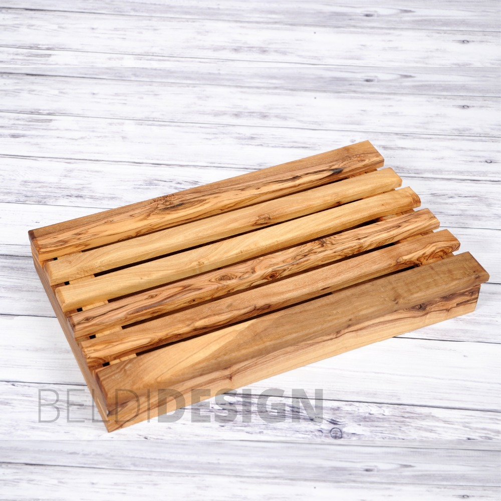 Handcrafted Olive Wood Bread Cutting Board With CB1 Crumb Catcher by Artisans in Tunisia