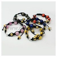 Fashion Shamballa Braided Nylon DIY Bracelet Makings, with Dyed Jade, Brass Stardust Beads, Mixed Color AJEW-JB00003-M