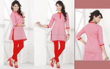 Lite Pink Color With red Color Lace Border with lite Pink Slevees Dream Ready Made Kurtis