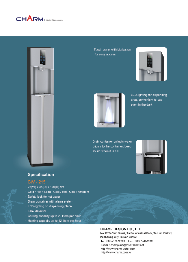 Cold/Hot/Soda CW-215 Water dispenser Beauty