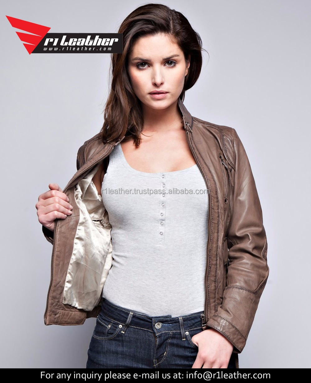 Custom design high quality zipper fashion new design women leather motorcycle jacket