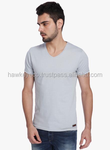 Fashion V-Neck Mens Plain White T-Shirts
