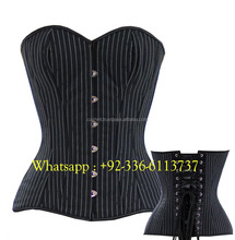 COSH INTERNATIONAL : 001 Black-white pin strip cotton Steel Boned Fullbust Corset Supplier