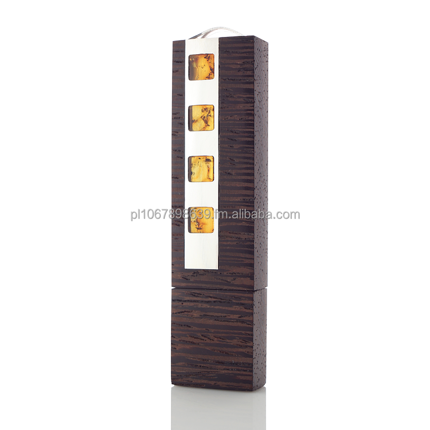 Prestige Ego - exclusive USB flash drive, amber, silver Wenge, Mahogany, hand made