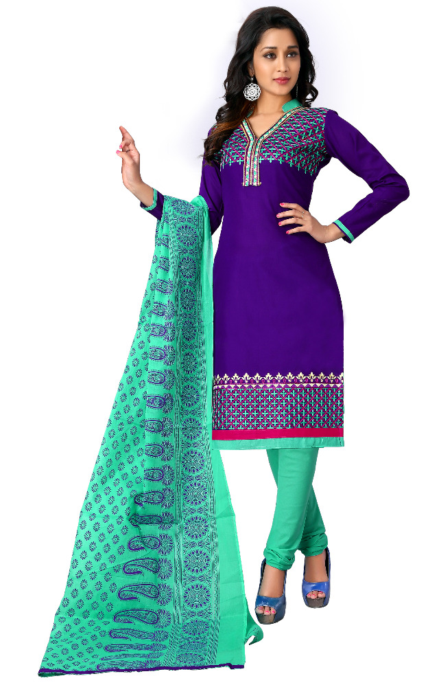 Women's Unstitched Purple & Green Colour Beautiful Cotton Salwar Kameez / Daily Wear Chudidar