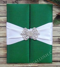 Green Silk Gate Fold Folio Wedding & Event Invitation With White Ribbon And Brooch