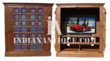 INDIAN ANTIQUE PLASMA TV CABINET MADE BY REAL ANTIQUE WOODEN DOOR IA-PL-02