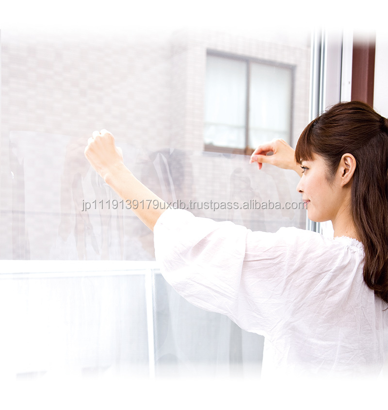 Easy to apply solar heat and UV cut window glass film for skin protection