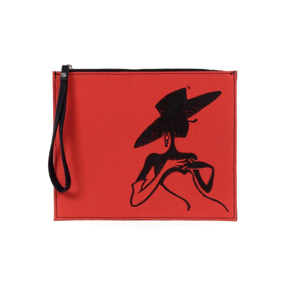 Black Hat Girl Printed Pouch
