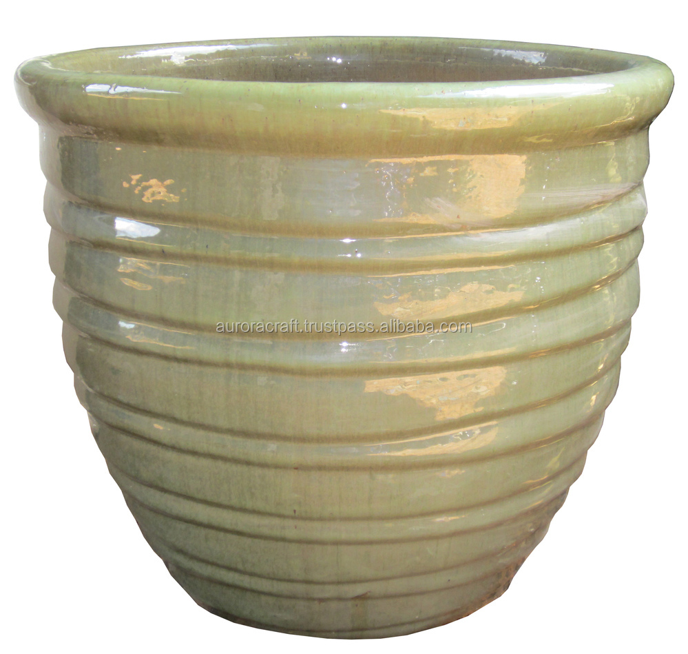 Tall outdoor large glazed ceramic planter buy large for Outdoor ceramic planters