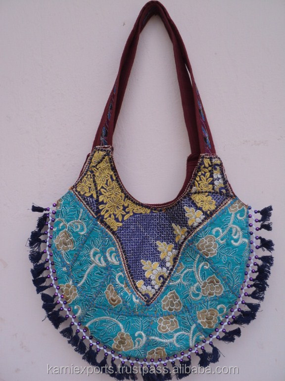 Beautiful ladies handbags / Lady fashionable hand embroidery , Elegant Bead-work Design Cotton Bag