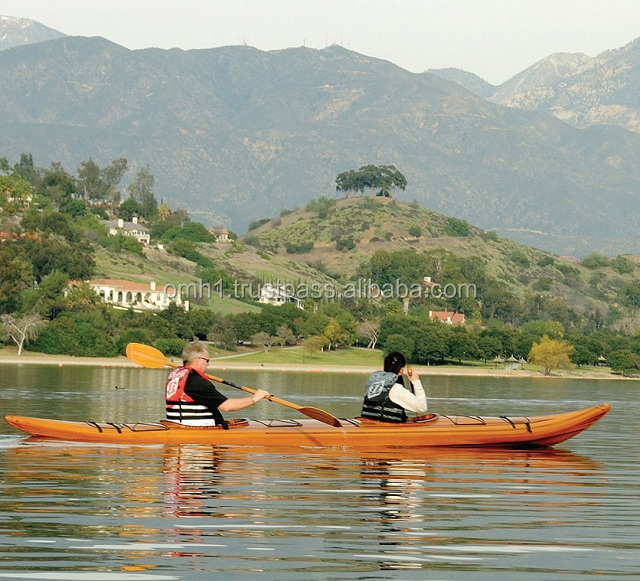Wooden Racing Kayak 17' For 1 Person / Water Rowing Boat/ Vietnam High Quality Real Canoe Kayak Made From Cedar Wood