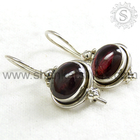 Indian Silver Jewellery Garnet Earring