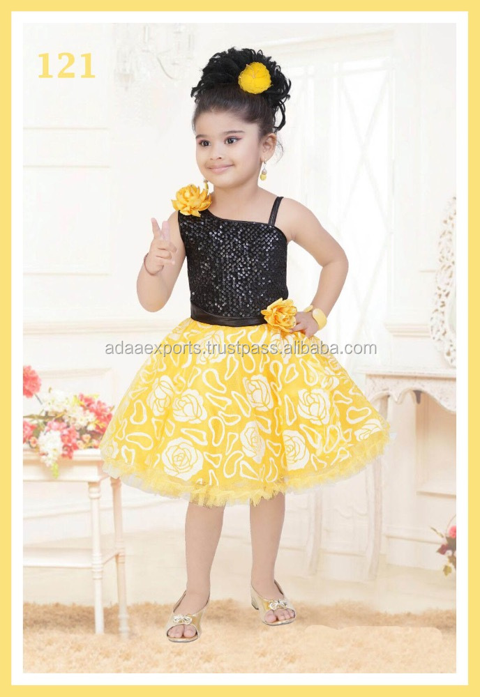 Exclusive Black And Yellow Designer Frock