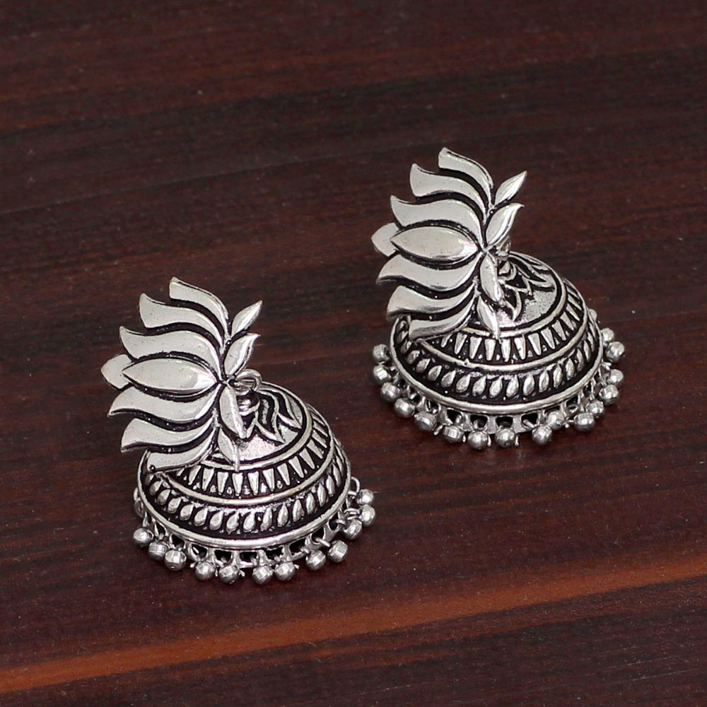 Jaipur Mart Wholesale Oxidised Earrings Silver Plated Jewelry Indian Traditional Design Fashion Jhumka Earring for Women & Girls