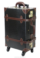 crocodile luggage carry luggage Japan classical design wholesale style PVC leather vintage trolley luggage suitcase on wheels