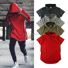 Outstanding fashion hoodie round bottom t shirt, Longline round bottom t shirt with hood