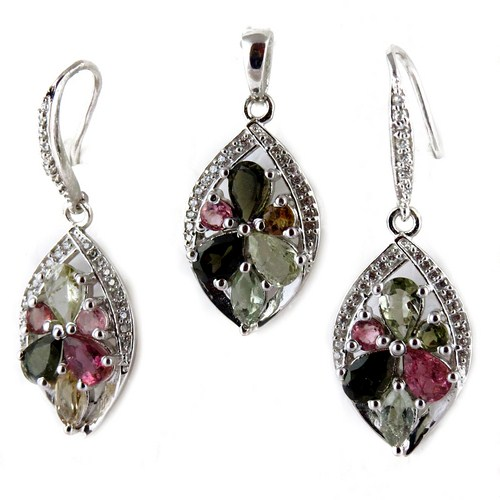 Lovely Fashion Style Tourmaline 925 Sterling Silver Pave Setting Set, Antique Silver Jewelry, 925 Silver Jewellery