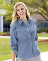 Port & Company - Ladies Long Sleeve Value Denim Shirt. LSP10.