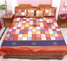 Indian Vintage 100 % Silk Bedsheet Embroidered Associated Patch Work Jaipuri Bedspread Bed Cover Throw Blanket