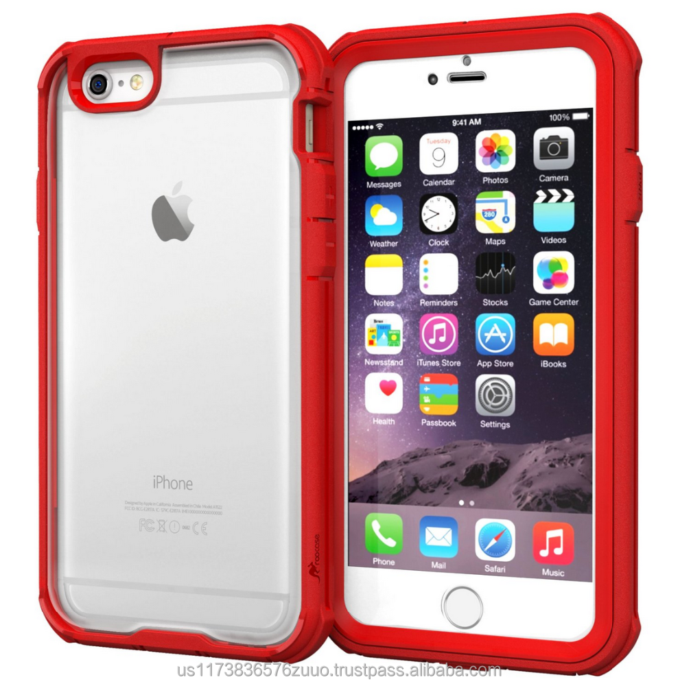 "Scratch Resistant Clear PC/TPU Full Body Protection Case Cover Built-in Screen Protector for iPhone 6 6s 4.7"" roocase (red)"
