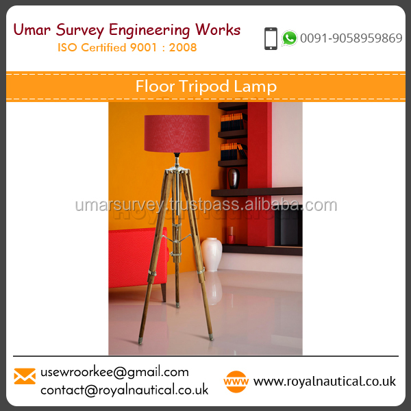 Industrial Grade Tripod Floor Lamp made from Pure Teak Wood