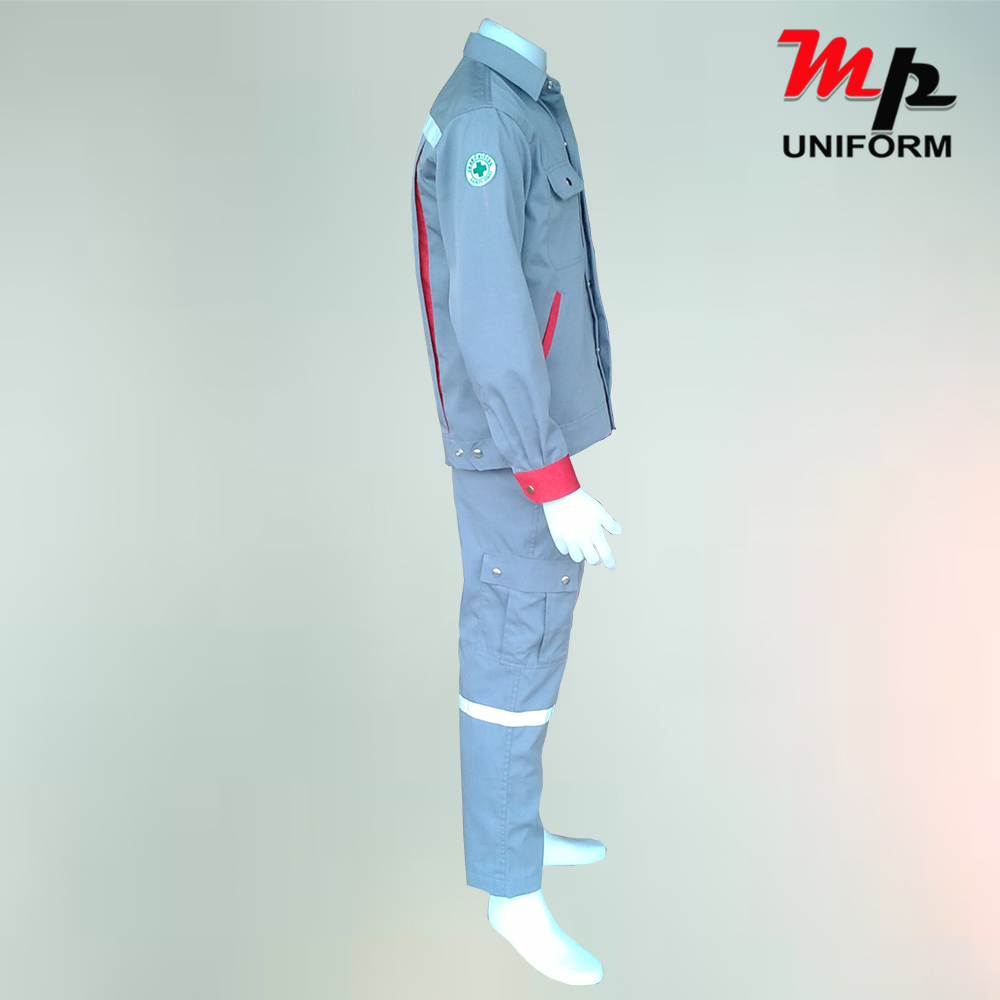 Gray work uniform with back reflective.