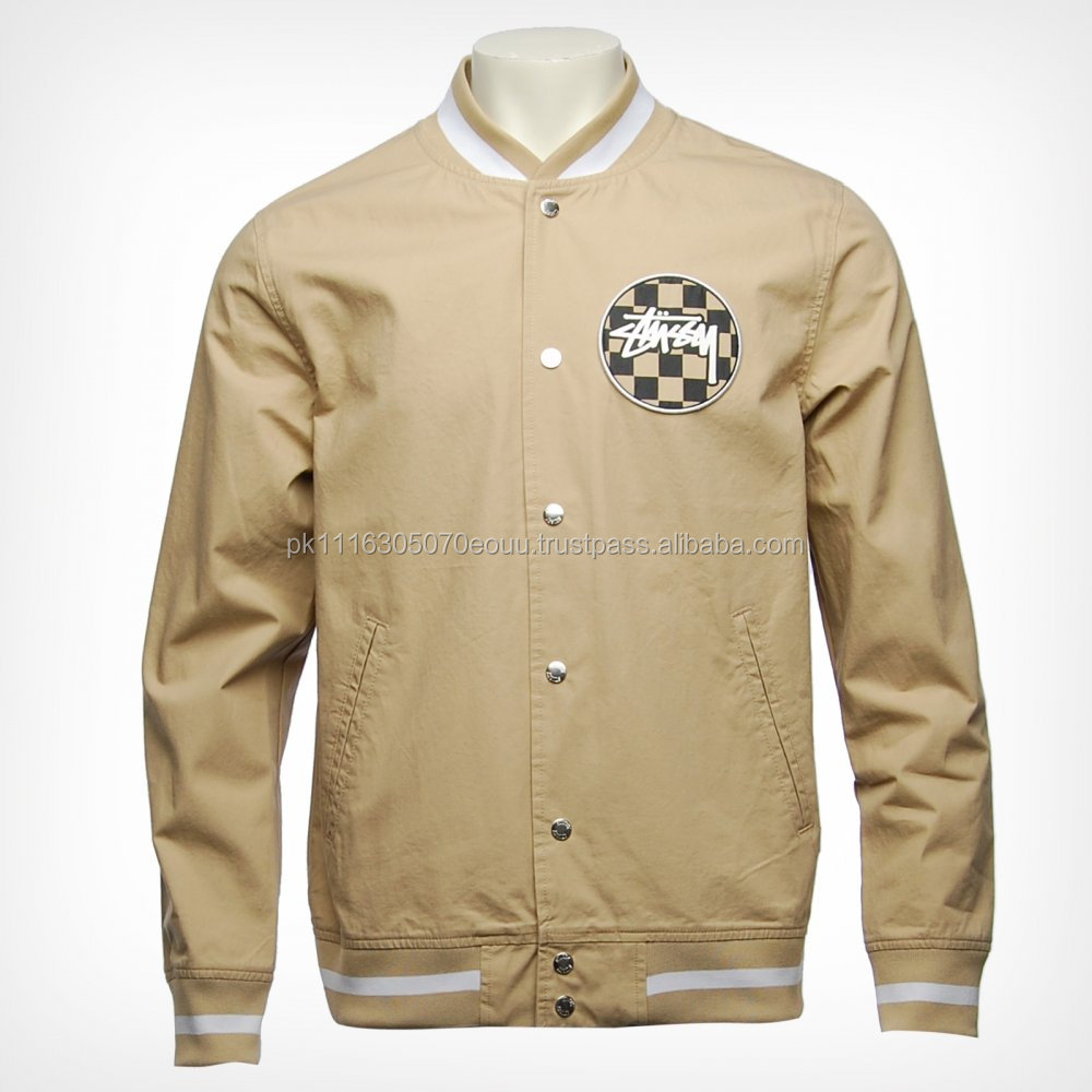 Custom Printed Mens Varsity Baseball Jackets Soft Cotton French Terry Bomber Jacket Long Sleeve Button