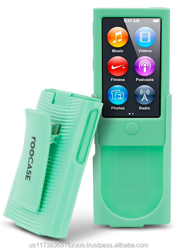 Hybrid Silicone Case with Detachable Spring loaded Holster Clip for iPod Nano 7th Generation roocase (green)