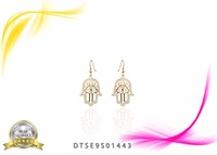 14 KT Yellow Gold Plated CZ studded Hamsa Design Earring Jewelry