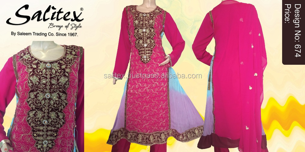 0674- Salitex Chiffon 3 piece suit fancy ladies suits long frock design