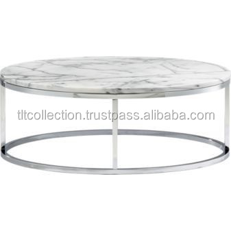 Round Big Center Table Silver Finish Table With Marble Top
