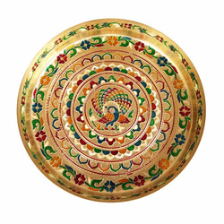 "PEACOCK DESIGNED BRASS MEENAKARI DECORATIVE PLATE/ PUJA THALI-GOLDEN MEENA WITH 2 TUMBLERS (9"" x 9"" x 0.75"" INCHES)"