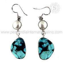 Scrumptious Pearl, Turquoise Gemstone Silver Earring 925 Sterling Solid Silver Jewelry Wholesale Jewelry Price Per Gram